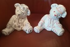 2 x matching ceramic Teddy Bear Money Box White / Silver / Pink ideal for twins