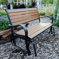 Lifetime Synthetic Wood Patio Glider Bench Smooth Quiet Low Maintenance Durable
