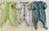 3 Infant Baby Boys 0-3 & 3 Month Circo/Carter's Button Holiday Sleepers LOT