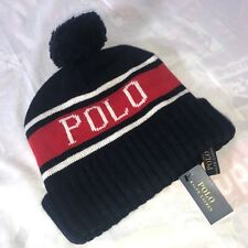 Polo Ralph Lauren USA Wool Knit Pom Pom Mens Beanie Skully Navy Blue Winter Hat