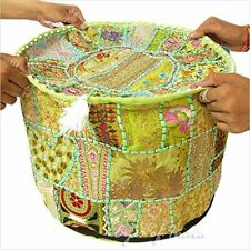 18'' Vintage Round Pouffe Cover Indian Cotton Footstool Ottoman Patchwork Throw