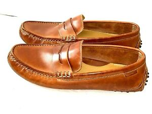 Cole Haan Mens US 10 M Grant Canoe Penny Loafers Driving Moccasins Brown Leather