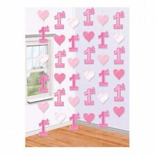 6 PINK 1ST HANGING STRING DECORATIONS GIRLS FIRST BIRTHDAY PARTY STRINGS HEARTS