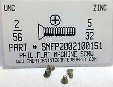 #2-56x5//32 Flat Head Phillips Machine Screws Steel Zinc Plated 100