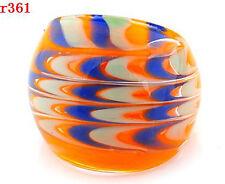 1pc BEAUTIFUL COOL 8# Lampwork Glass nice pattern handmade ring r361