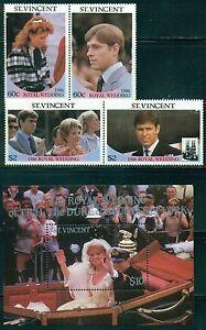 ST. VINCENT 958-60 SG1009-12,MS1013 MNH 1986 Royal Wedding set 2pairs+MS Cat$8