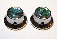 Guitar Parts METAL TOPHAT Skirt KNOBS 1/4inHole- ABALONE TOP - Set of 2 - CHROME
