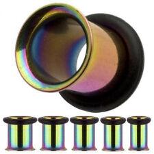 2) Titanium Single Flare Tunnels Plugs Rainbow 3mm 8g