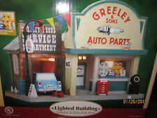 """TRAIN GARDEN VILLAGE NEW  """" GREELEY'S GARAGE &  AUTO PARTS """" +DEPT 56/LEMAX info"""