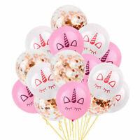 "15PCS Unicorn 12"" Latex ROSE GOLD Confetti Balloons Birthday Party Decorations"