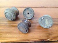 Antique Vintage Victorian Lot of 4 Round Carved Wood Knob Cabinet Drawer Pulls