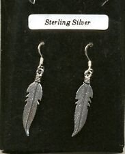 Silver Large Feathers Sterling Silver 925 Drop Earrings Organza Gift Bag