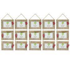 Shabby Chic rustique en bois Flotté Triple Hanging Red Hearts Cadre Photo-6x4 X5