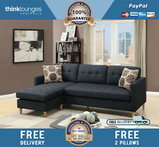Charlie 3 Seater + Chaise ( Black ) GET FREE DELIVERY + 2 Free Pillows