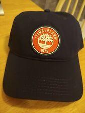 TIMBERLAND Baseball Hat Cap BLACK Cotton LEATHER Logo adjustable Strapback
