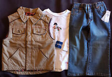 NWT Boy's Size 3T 3 T Brown Osh Kosh Vest Jacket, Children's Place Jeans + Top
