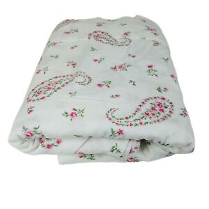 Laura Ashley Flannel Flat Sheet Bristol Paisley Pink Roses Queen Cotton Cottage