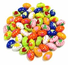 Easter Egg Plastic Beads Colorful Egg Heart  DIY Craft 50 pcs 20 x13 mm