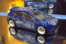 2018 Hot Wheels REAL RIDERS CUSTOM FORD FOCUS RS in Blue. HW ART CARS 3/10.