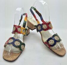 DAVID TATE Vtg Multi-Colored Cork Sole Sling Back Open Toe Comfort Sandals 8 N