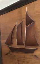 """Vintage Framed 3-D Raised Wood Sailboat Folk Art 17"""" x 21"""" 4 Sails Great Design"""