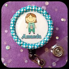 MEDICAL ASST PERSONALIZED Name Retractable Work ID Badge Holder Lanyard Clip Cap