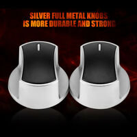 2X Universal Silver Gas Stove Knobs Cooker Oven Hob Kitchen Switch Control Metal