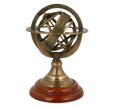 5'  BRASS ARMILARY SPHERE NAUTICAL WOOD TABLE TOP GIFTED ITEM