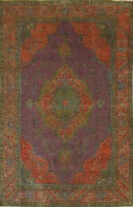 Antique Overdyed Traditional Oriental Area Rug Evenly Low Pile Hand-knotted 6x9