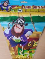 1x Pirate Themed Childrens Party Plastic 10x Flag Bunting Banner. Length 360cm.