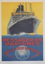 """""""MESSAGERIES MARITIMES / CHAMPOLLION""""Affiche originale entoilée Sandy HOOK 1925"""