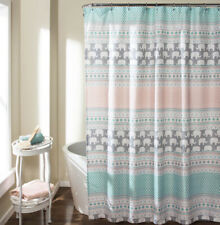 Shower Curtain LUSH DECOR elephant stripe teal green gray turquoise peach NEW