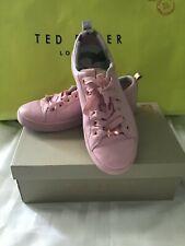 Ted Baker Ladies Size 6 Kelleil Mink Pink Lace Up Tennis Trainer Sneakers