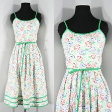 1980s Cotton Floral Sundress by Lanz, Small to Medium(S, M, 34-26.5-Free)