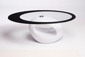BLACK AND WHITE OVAL GLASS COFFEE TABLE CONTEMPORARY DESIGNER MODERN RETRO