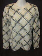 Charter Club 100% 2-ply Cashmere Cream Gray Yellow Crew Neck Sweater S