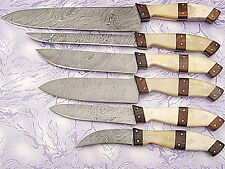 CUSTOM MADE DAMASCUS BLADE 6 Pc's. KITCHEN KNIVES SET A-E 07-C  BWN