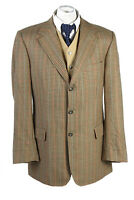 "Vintage Tweed Burberry Classic Windowpane Blazer Jacket Chest 46"" Multi - HT2826"