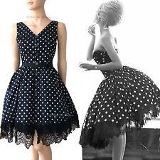 DOLCE GABBANA D&G Vintage 1990s Negro & Lunares Encaje Vestido de 50s Talla 8 4 40
