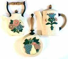 1995 Homco Kitchen Wall Plaques Art Teapot Coffee Pot Frying Pan 3309 3310 3311