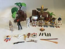 PLAYMOBIL 3250 INDIANS WITH TEEPEE AND CANOE Horses Weapons Fire + 70% COMPLETE