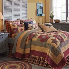 3pc Hazelwood Farmhouse Queen Quilt Set w/Bonus Pillow/ Burgundy,Tan