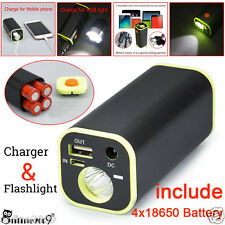 3W LED Flashlight USB Power Bank 4x18650 External Battery Charger Pack Case New