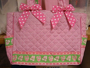 Diaper/tote bag large pink/green/white 'Flip Flop' w/changing pad& wallet NWT FS