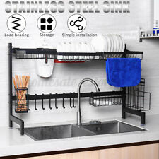 Dish Drying Rack Kitchen Shelf Stainless Steel Over The Sink Storage Holders ❤