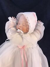 Vintage Baby Doll In Handmade Christening Dress W/Lace. McNees Mold Music Box