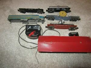 Lot of American Flyer S Gauge Freight cars, Transformer, Station and Diesel shel
