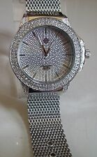 MEN'S TECHNO PAVE SILVER FINISH BLING MASH BAND RAPPER STYLE CLUB FASHION WATCH