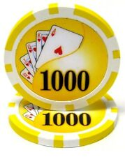 25 Yellow $1000 Yin Yang 13.5g Clay Poker Chips New - Buy 2, Get 1 Free
