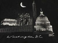 True Vintage Washington DC Famous Monuments Black XL T Shirt 1984 80s
